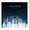 winter night in strasbourg night city vector image vector image