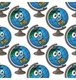 Happy cartoon globe seamless pattern vector image