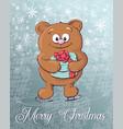 merry christmas polar bear on ice skates vector image