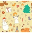 Seamless Christmas pattern with snowman snowflakes vector image