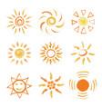 set of hand drawn chalk suns vector image