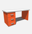 3d image - orange white desk with three drawers vector image