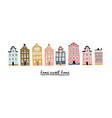 amsterdam houses with lettering vector image