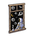 astronaut looks out window vector image vector image