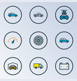 auto icons colored line set with carwash pickup vector image
