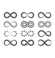 black infinity symbols repetition icons and signs vector image vector image