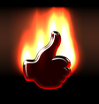 Burning like hand gesture in flames vector image vector image