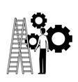businessman with gears and stairs vector image