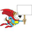 Cartoon Superhero Dog with a Sign vector image vector image