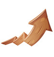cartoon wood rising arrow vector image vector image