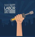 Colorful poster of happy labor day with dark blue