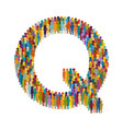 crowd of people in form of capital letter q flat vector image vector image
