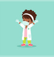 curly-haired black baby girl in medical mask vector image
