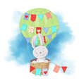 cute cartoon rabbit in a balloon on a watercolor vector image vector image