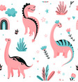 cute dinosaurs seamless pattern with dots vector image vector image