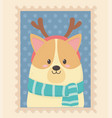 cute dog celebration happy christmas stamp vector image vector image