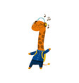 cute funny little giraffe student listening music vector image vector image