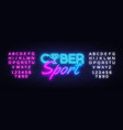 cyber sport neon text gaming neon sign vector image vector image