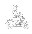 delivery guy with scooter vector image