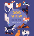 dog show poster on purple background various vector image vector image