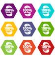 eggplant icons set 9 vector image vector image