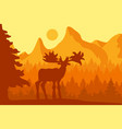 elk in the morning coniferous forest vector image