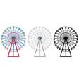 ferris wheels in three designs vector image