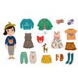 flat baby girl fashion icon set vector image vector image
