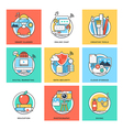 Flat Color Line Design Concepts Icons 1 vector image vector image