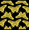 golden butterfly seamless pattern vector image vector image