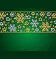 green christmas card with frame of golden and vector image vector image