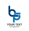 initial letter bq logo template colored dark blue vector image