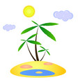 lost island with three palms and an oasis vector image vector image