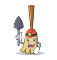 miner broom character cartoon style vector image