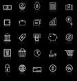 Money line icons with reflect on black vector image vector image