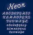 neon alphabet script font glowing letters set vector image vector image