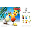 realistic beach party composition vector image vector image
