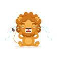sad little baby lion cartoon character sitting
