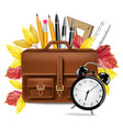 school bag and pencils realistic rulers vector image vector image