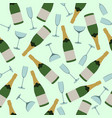 seamless pattern of champagne and glasses vector image