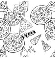 seamless pattern with hand drawn pizza slices vector image vector image