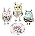 set funny owls doodle owls birds set vector image