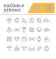 set line icons of accessories vector image vector image