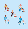 set mothers and fathers with their girls and vector image vector image