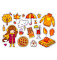 set of cute autumn stickers vector image vector image