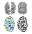 set of fingerprint flat line icons vector image