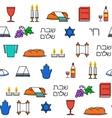 Shabbat symbols seamless pattern vector image vector image