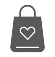 shopping bag glyph icon love and gift package vector image vector image