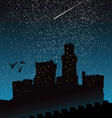 silhouette of castle under the night sky vector image vector image
