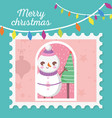 snowman tree hanging lights merry christmas stamp vector image vector image